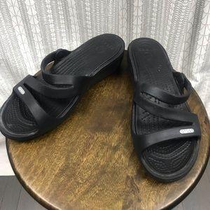 crocs Women's Patricia Sandal Black Slip On Shoes